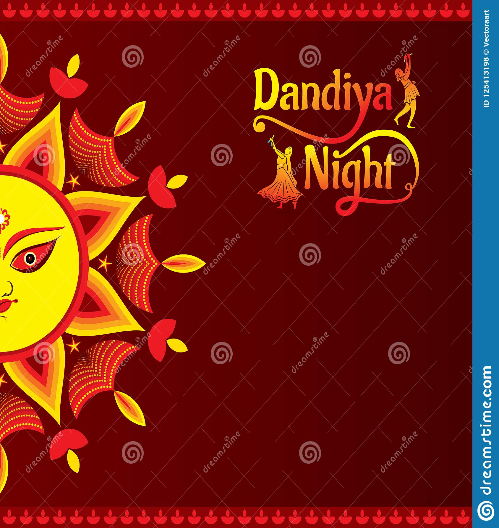 Celebrate Navratri Festival Greeting Card Design Stock Vector