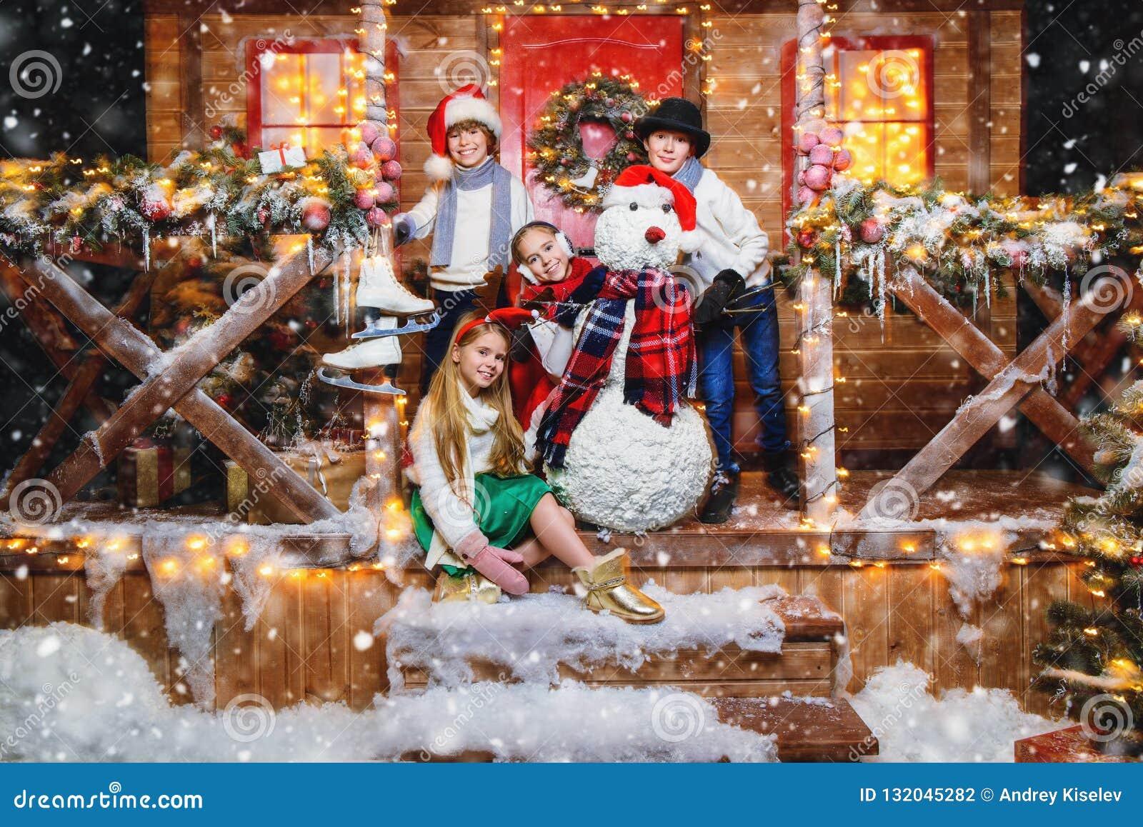 Celebrating christmas in yard