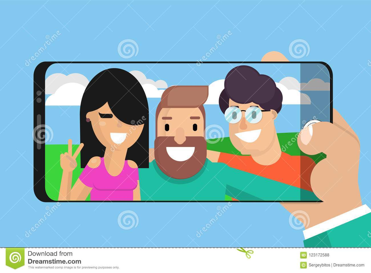 Celebrating Friendship Day Concept Stock Vector Illustration Of Happy Friendly 123172588