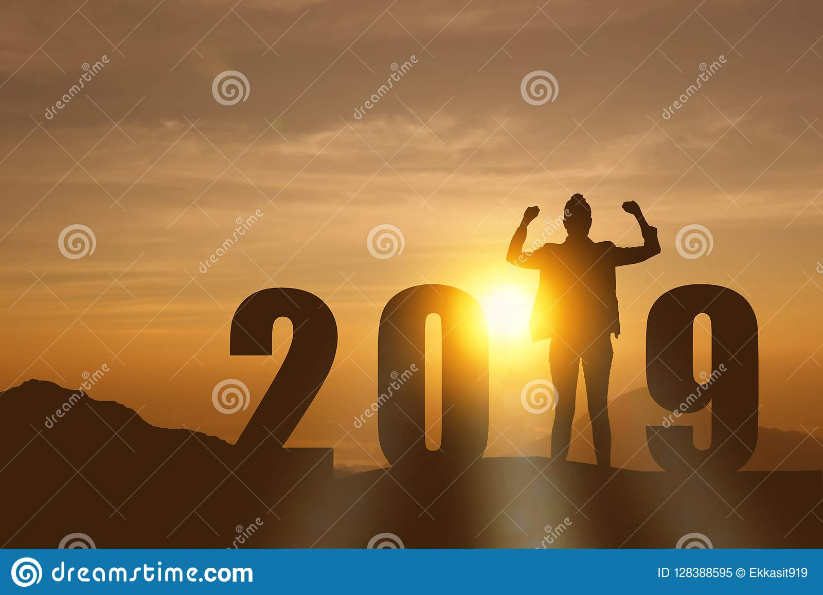 Celebrating new year 2019 Silhouette freedom young hope business woman standing and enjoying on the the top of the mountain, hill