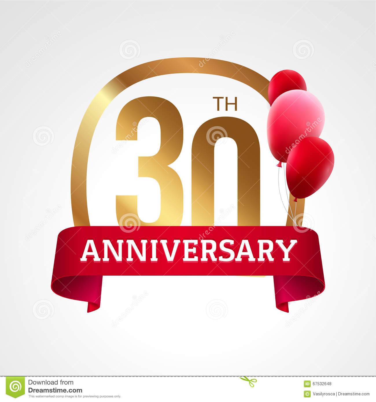 Celebrating 30 years anniversary golden label with ribbon and balloons, vector template