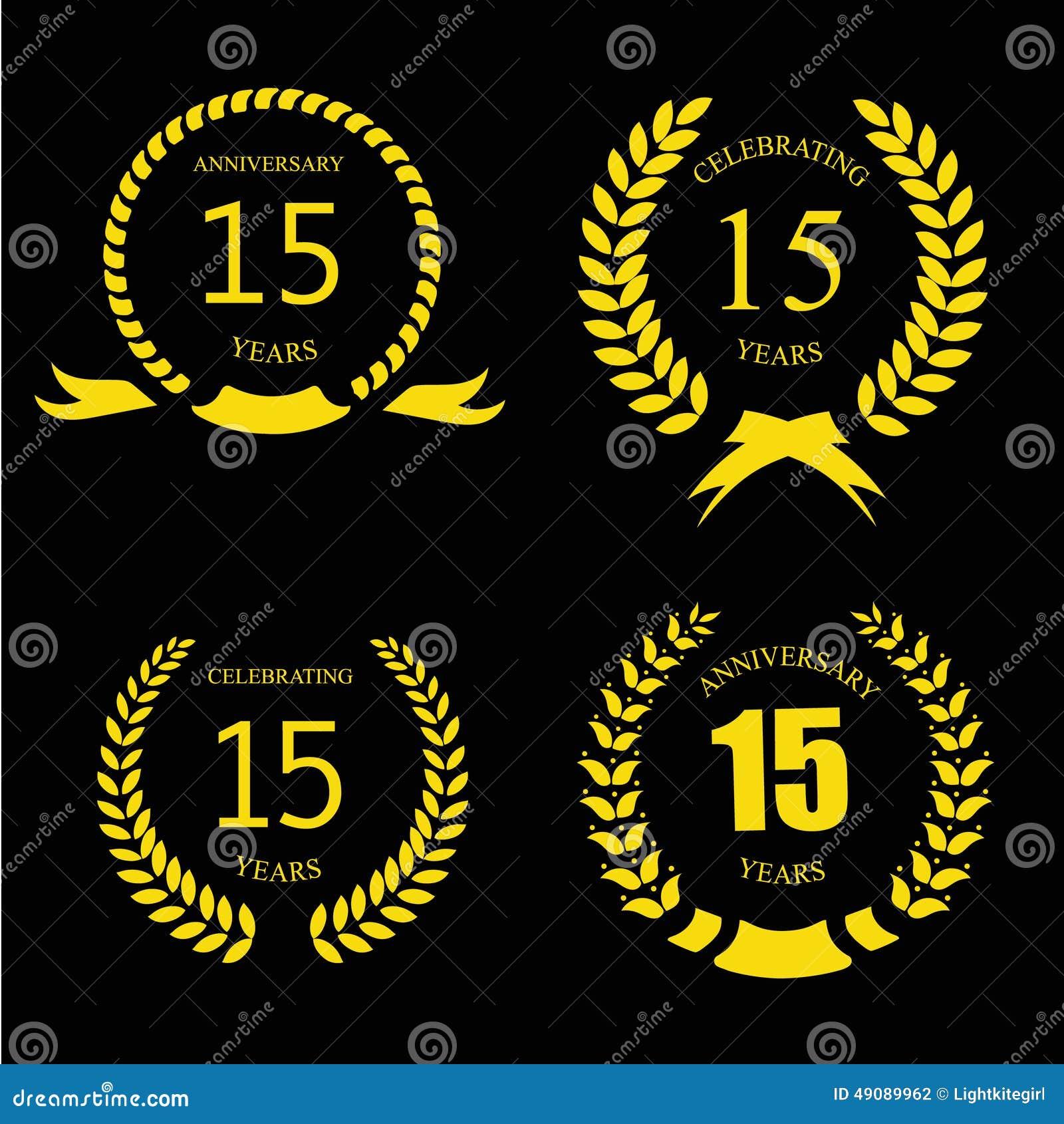 Celebrating 15 Years Anniversary - Golden Laurel Stock ...