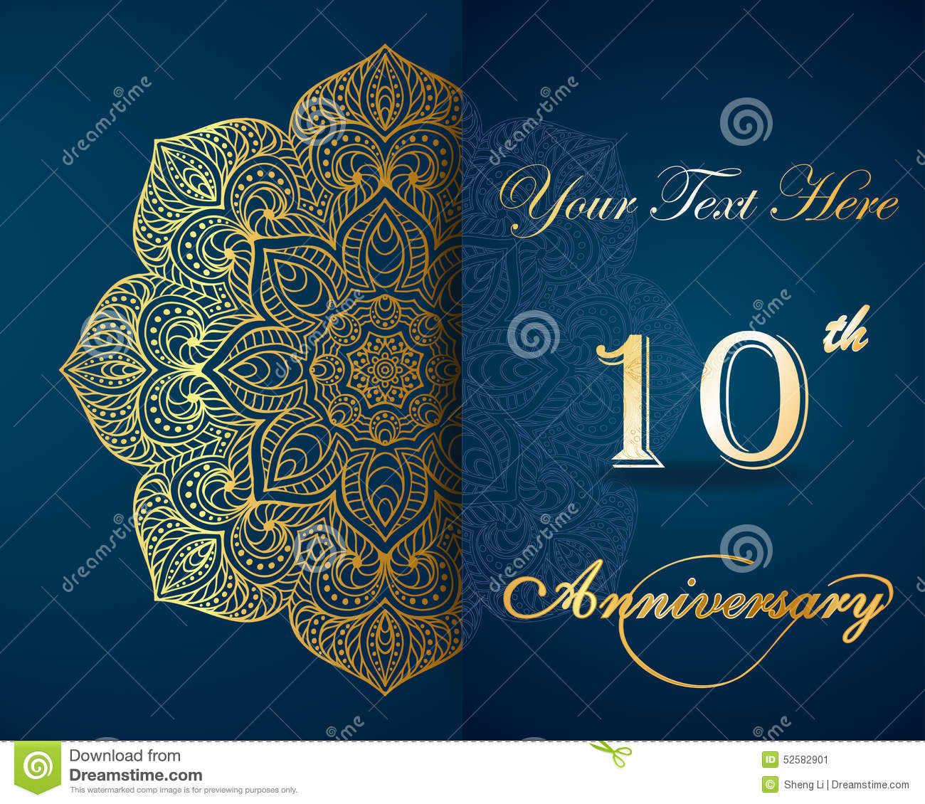 Celebrating 10 Years Anniversary Invitation Stock Vector