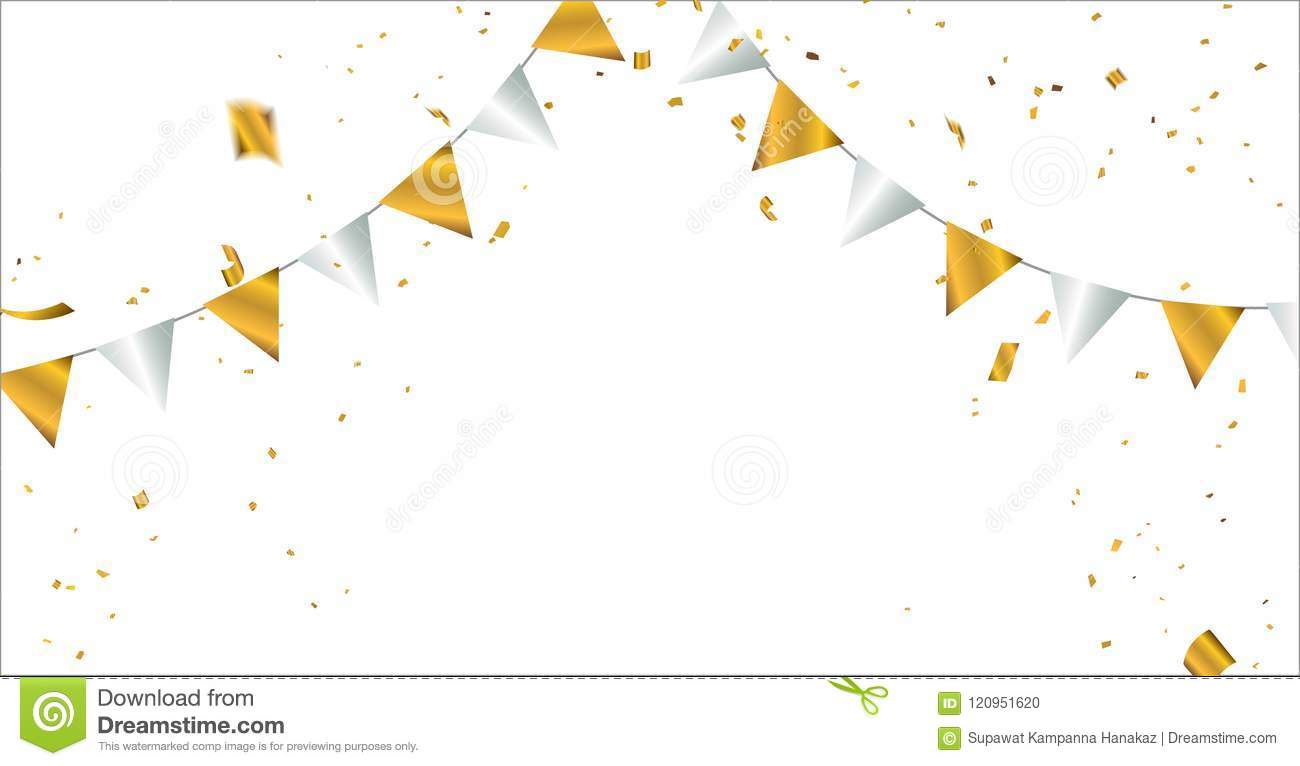 celebration background template with confetti and gold ribbons stock