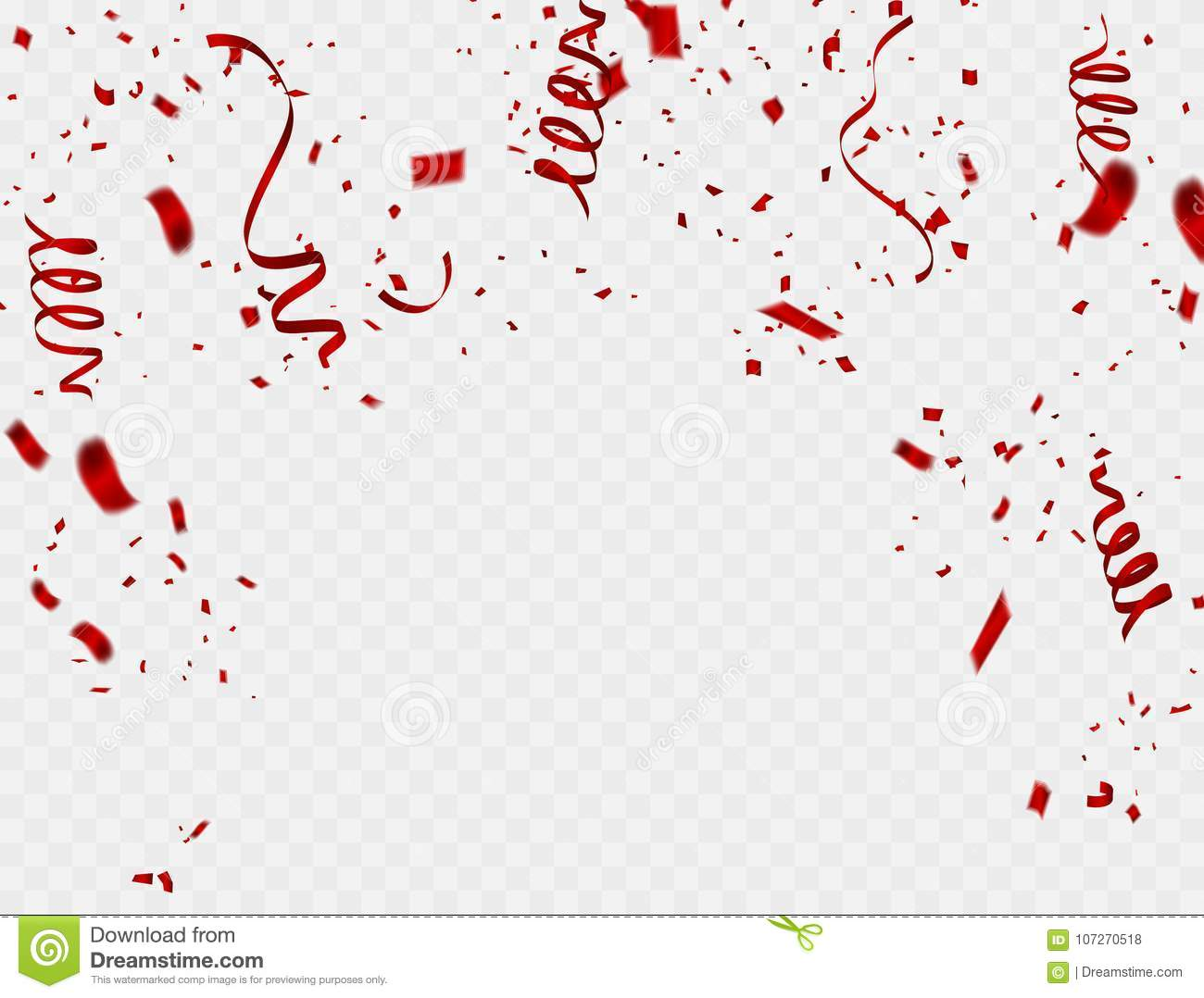 celebration background template with confetti and red ribbons