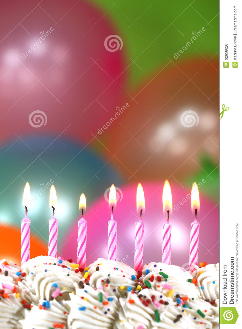 Celebration With Balloons Candles And Cake Royalty Free