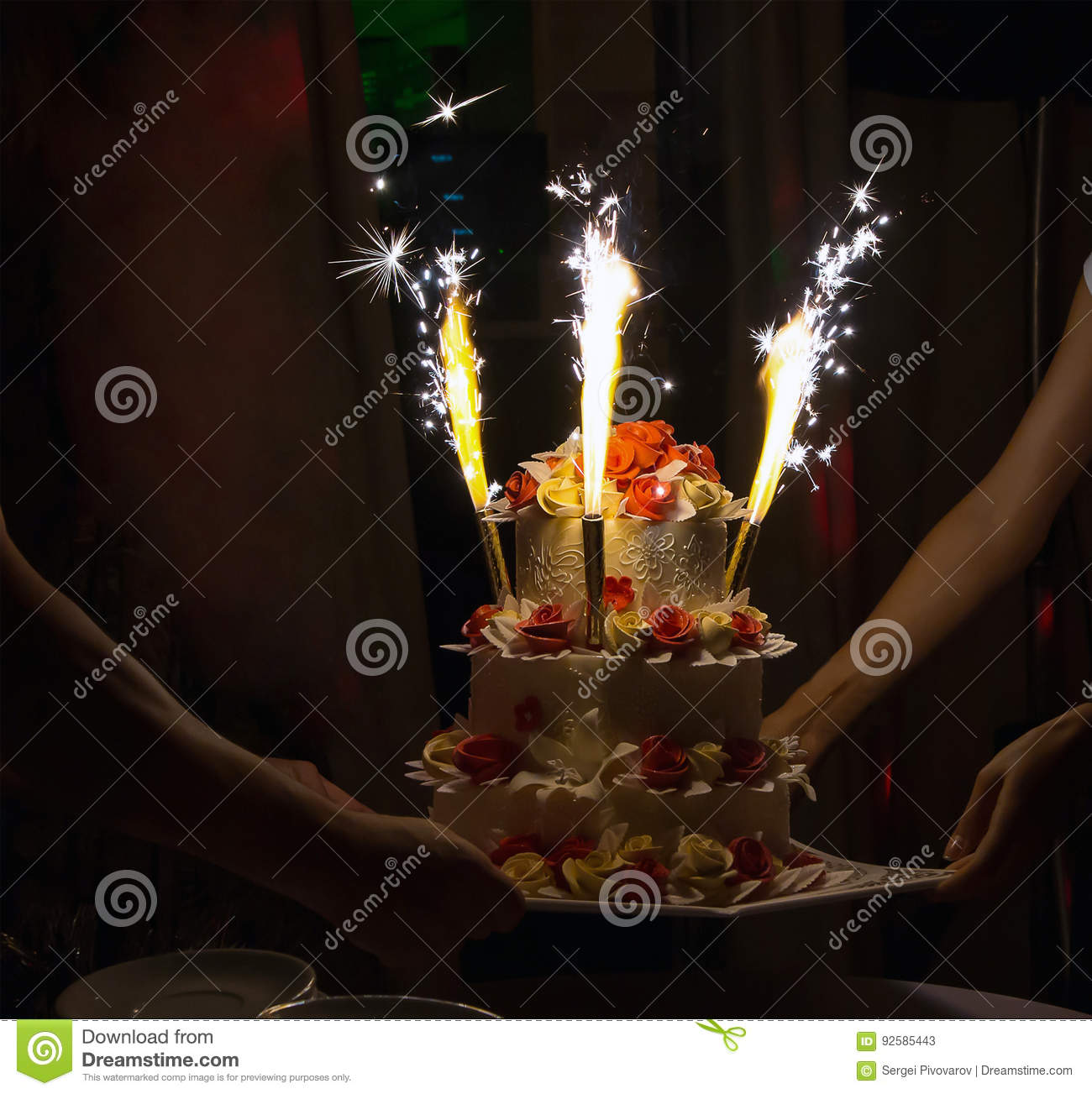 Celebration Cake With Candles And Cake Sparklers Stock Image Image