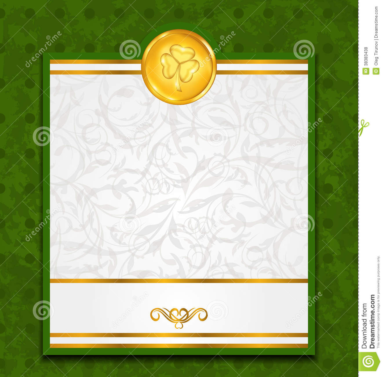 Celebration card with coin for St. Patricks Day