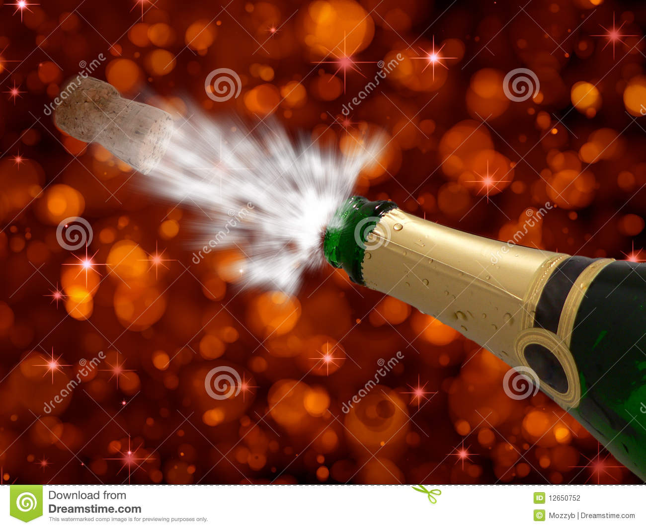 Celebration With Champagne On Party Happy New Year Stock