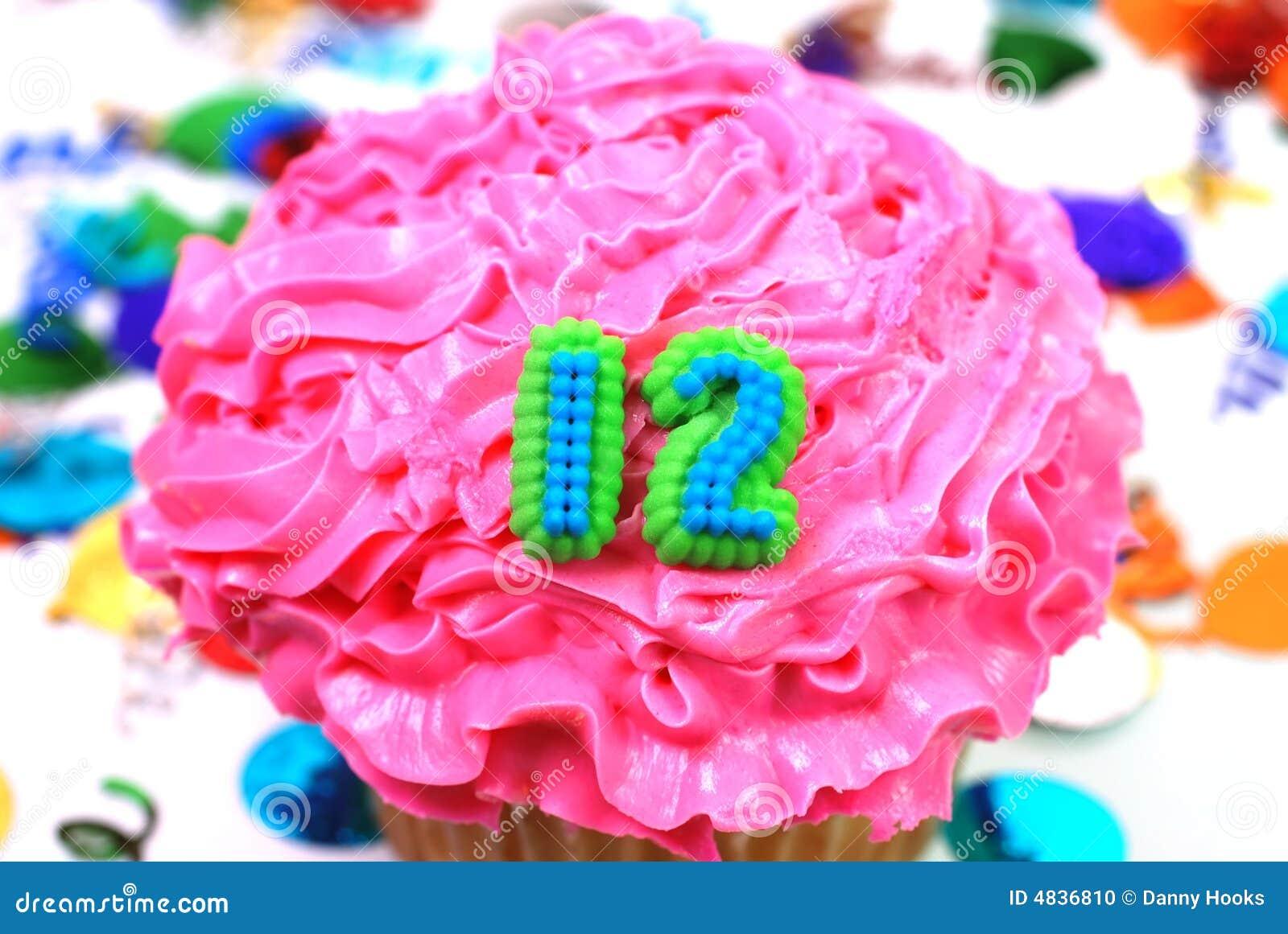 Celebration Cupcake Number 12 Stock Photo Image Of Birthday