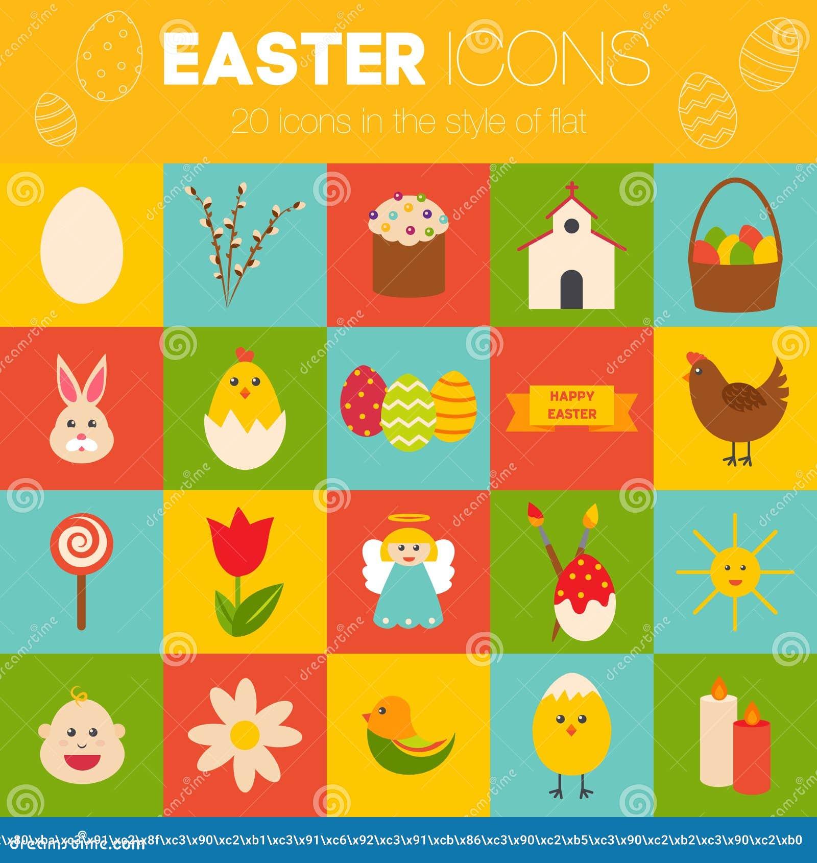 Celebration Easter Icons Flat Styled Objects Set Rabbit Birds