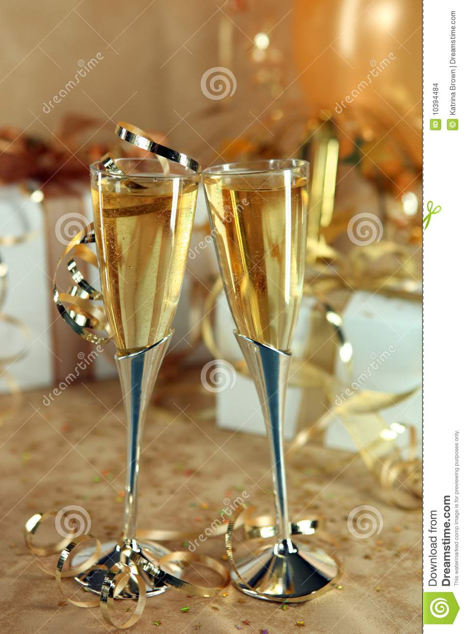 Celebration Of An Event With Champagne Glasses And Stock