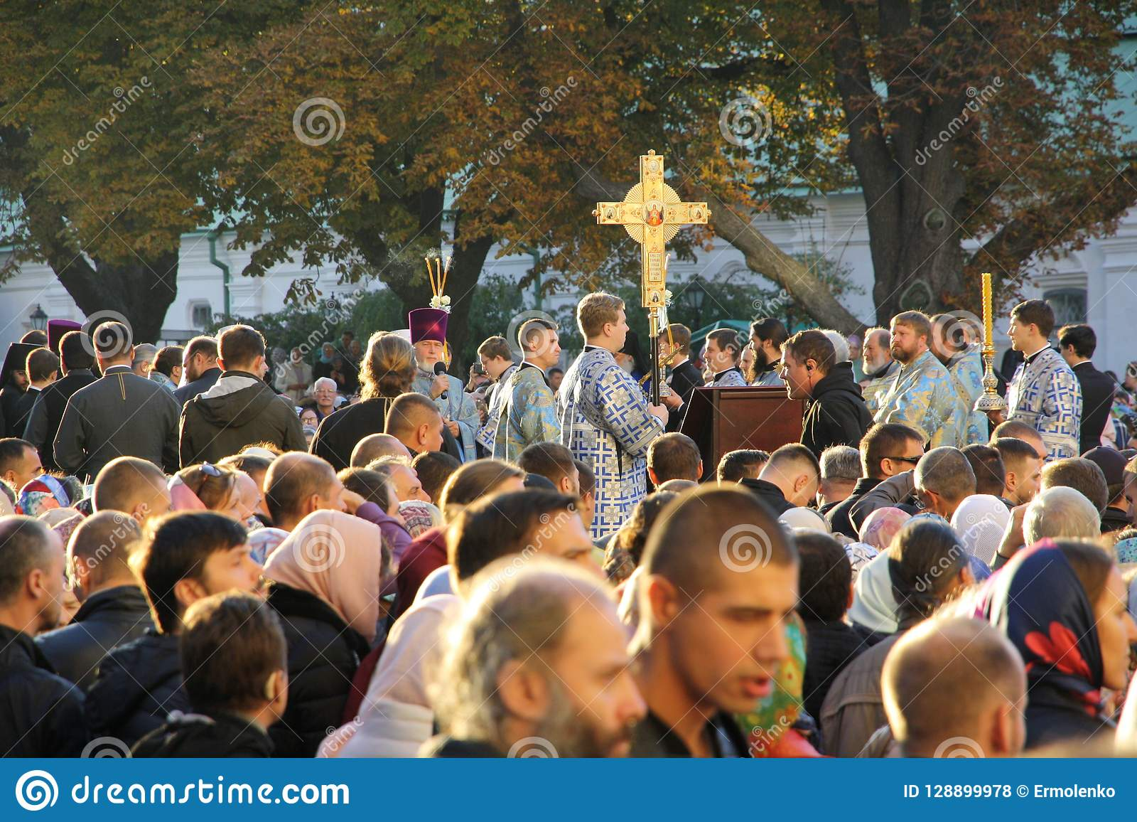 Celebration of the feast of the Protection of the Virgin in Kiev.