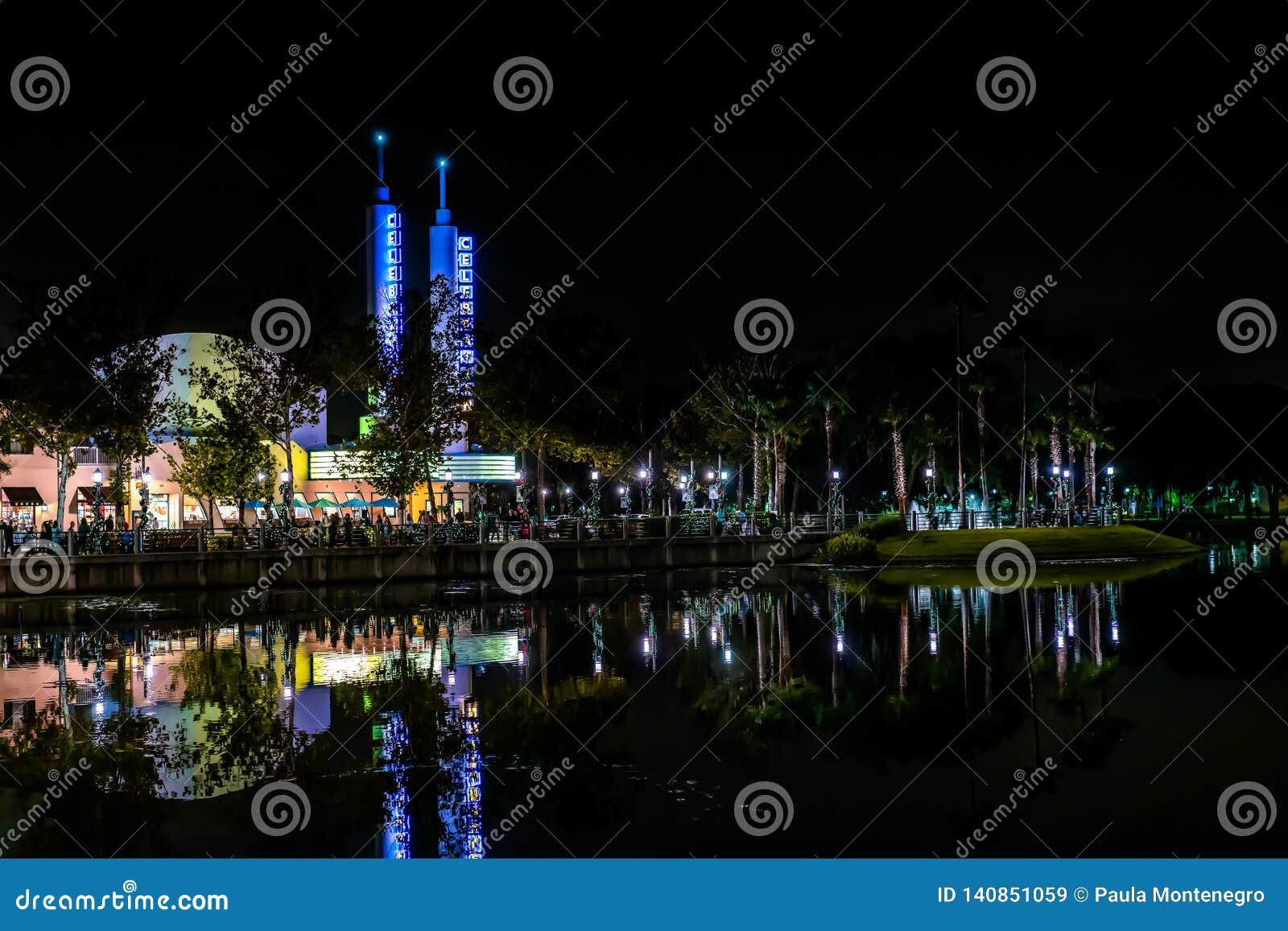 CELEBRATION, FLORIDA, USA - DECEMBER, 2018: Christmas At Celebration City. Beautiful View With ...
