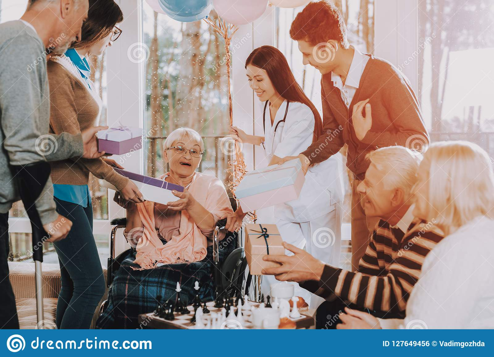 Celebration Give Gifts Surprised Wheelchair Stock Photo Image