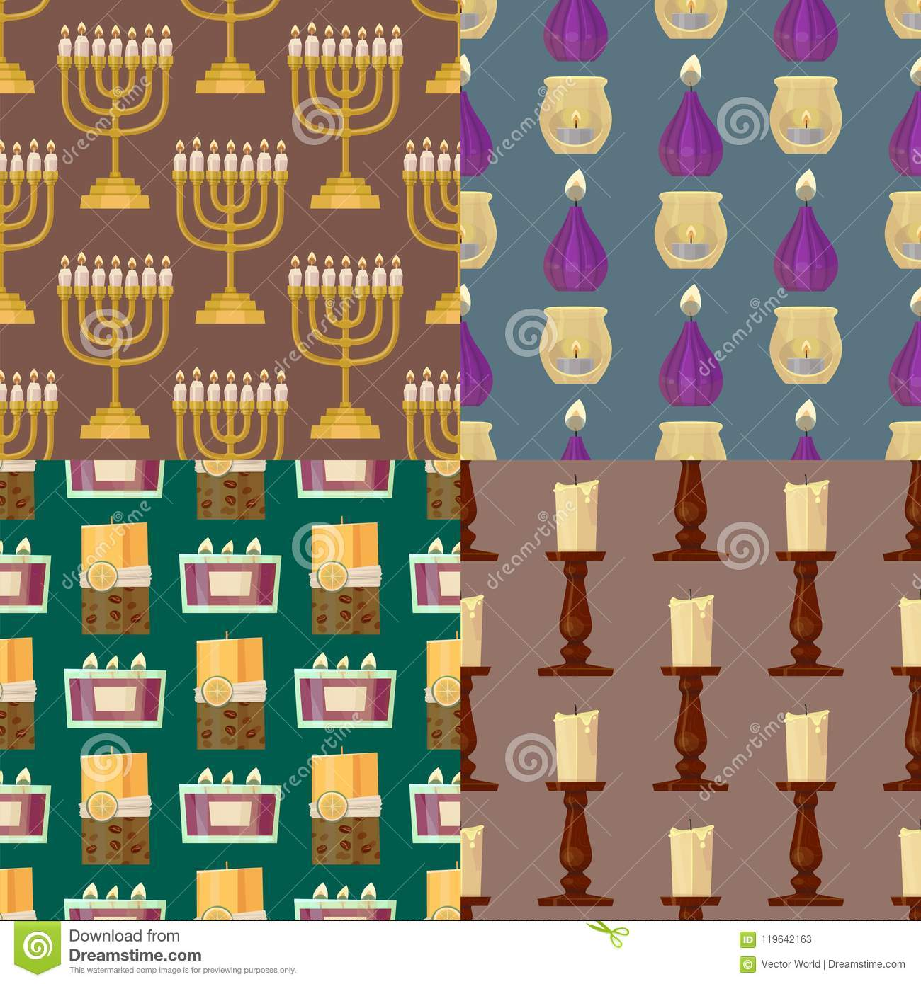 Celebration glowing religion candles seamless pattern background romance night bright flam burning object vector