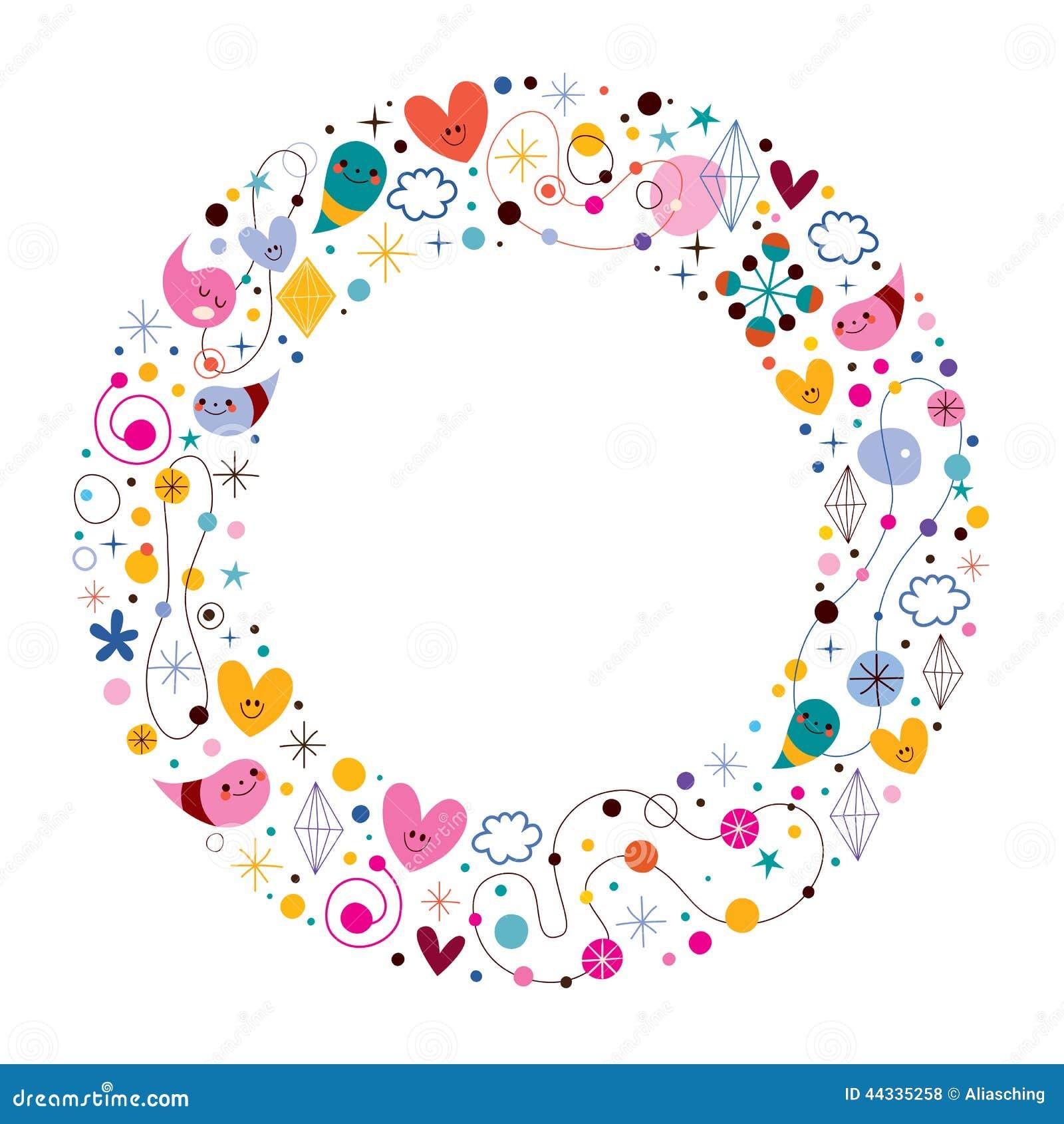 Celebration Happy Cartoon Circle Frame Stock Vector - Image: 44335258