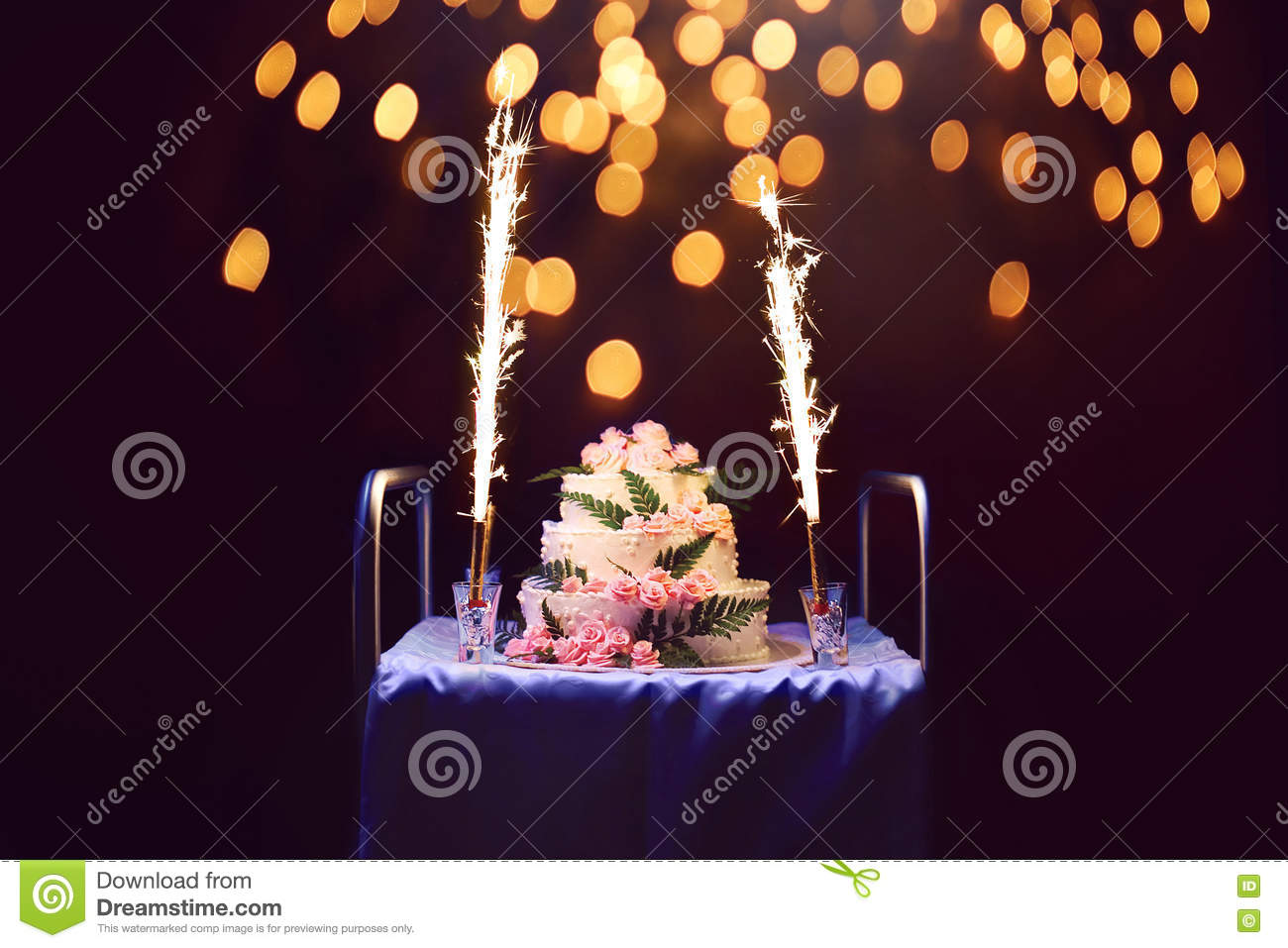 Outstanding Celebration Holiday Birthday Cake With Candles And Fireworks B Funny Birthday Cards Online Alyptdamsfinfo