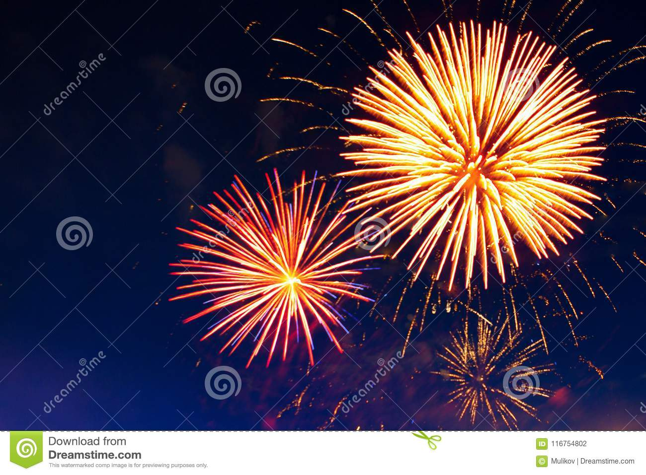 Celebration multicolored fireworks, copy space. 4 of July, 4th of July, Independence Day beautiful fireworks