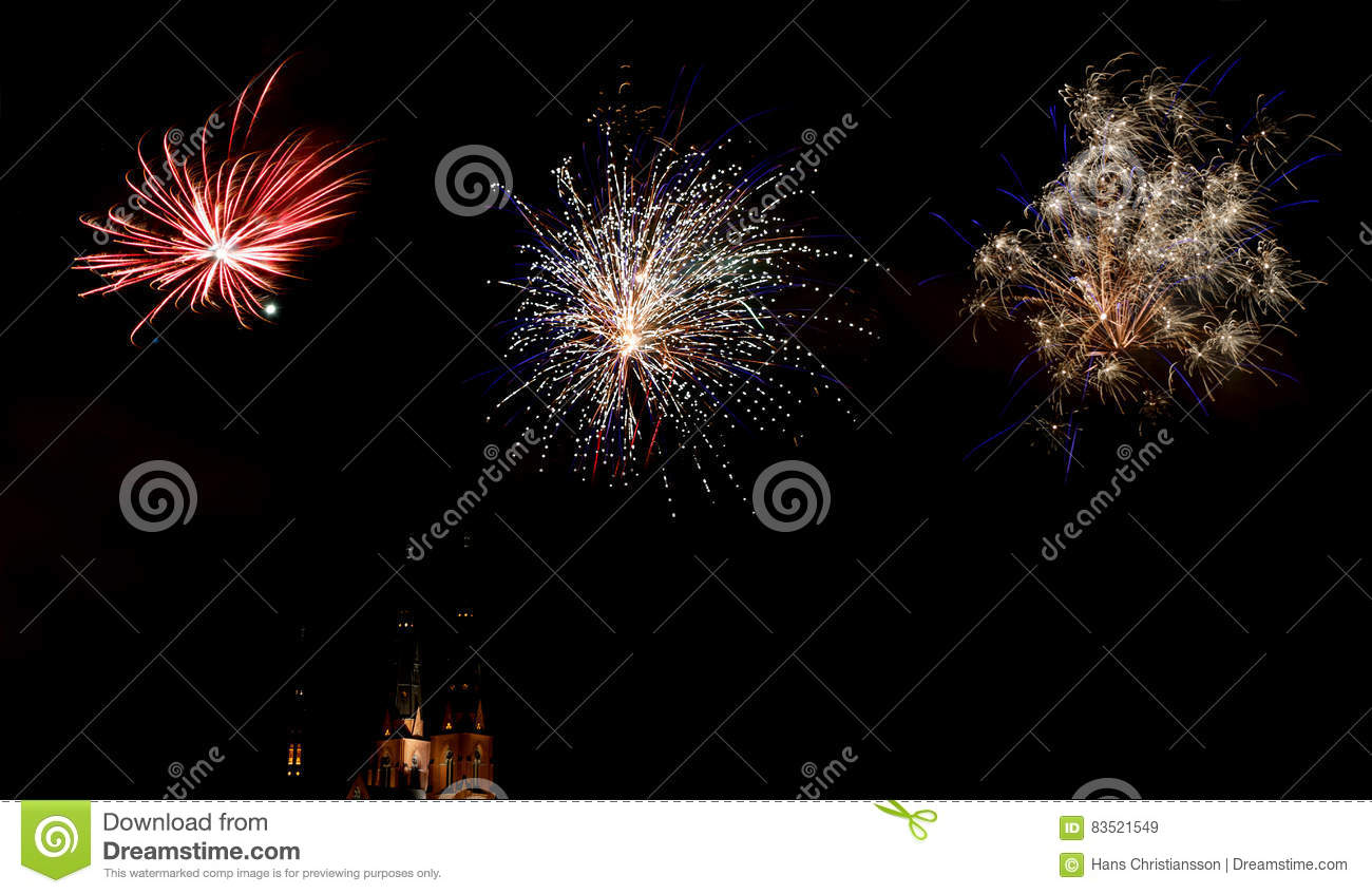 celebration of the new year with fireworks