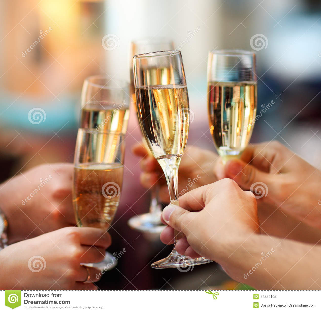 Celebration People Holding Glasses Of Champagne Royalty Free Stock Photo