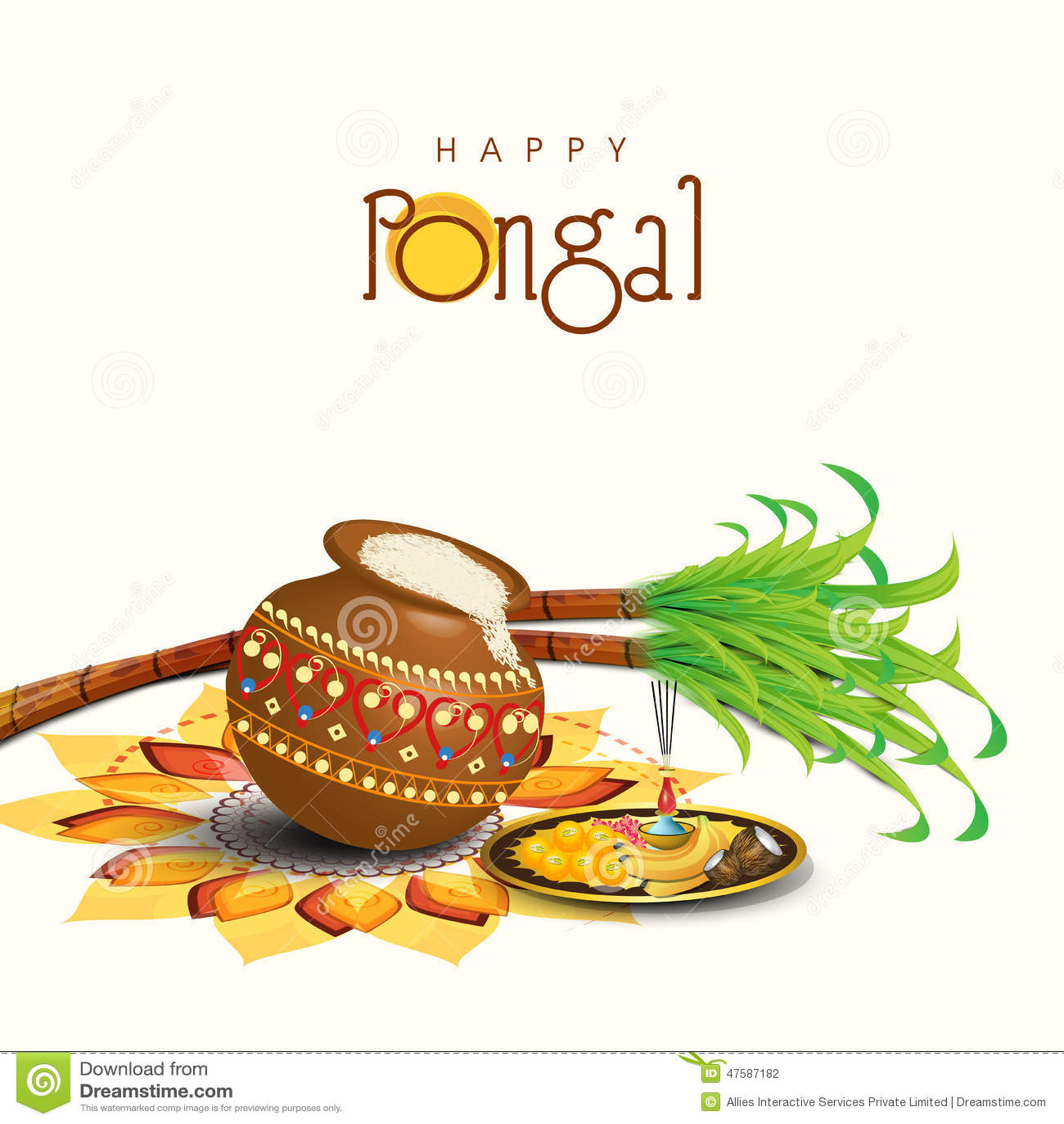 Celebration Of South Indian Festival, Happy Pongal. Stock Illustration ...