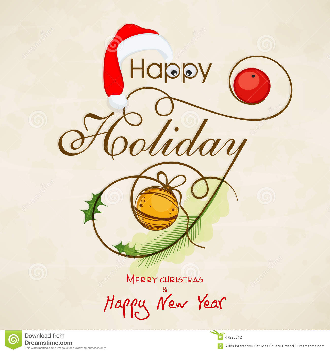 Celebrations Of Happy Holiday, Merry Christmas And New Year. Stock ...