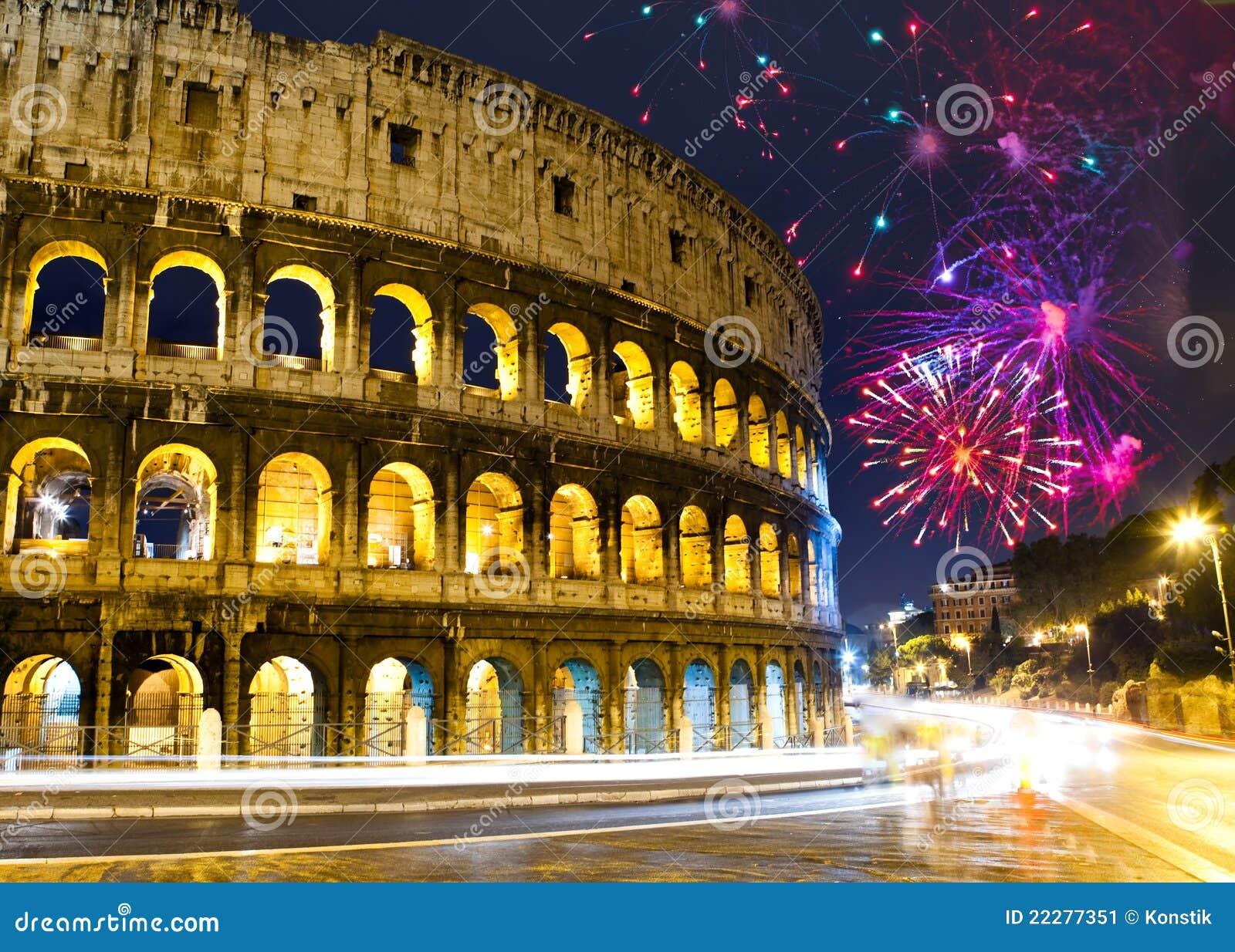 Celebratory collosseofyrverkerier italy över rome