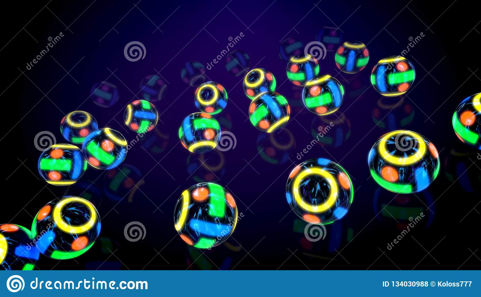 Spinning Neon Multicolored Abstract Balls Stock Illustration