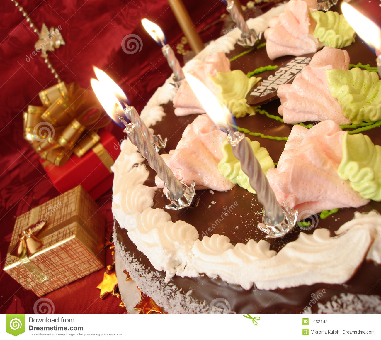 Celebratory table birthday cake and candles gift boxes on red celebratory table birthday cake and candles gift boxes on red stock photo image of food burn 1962148 negle Choice Image