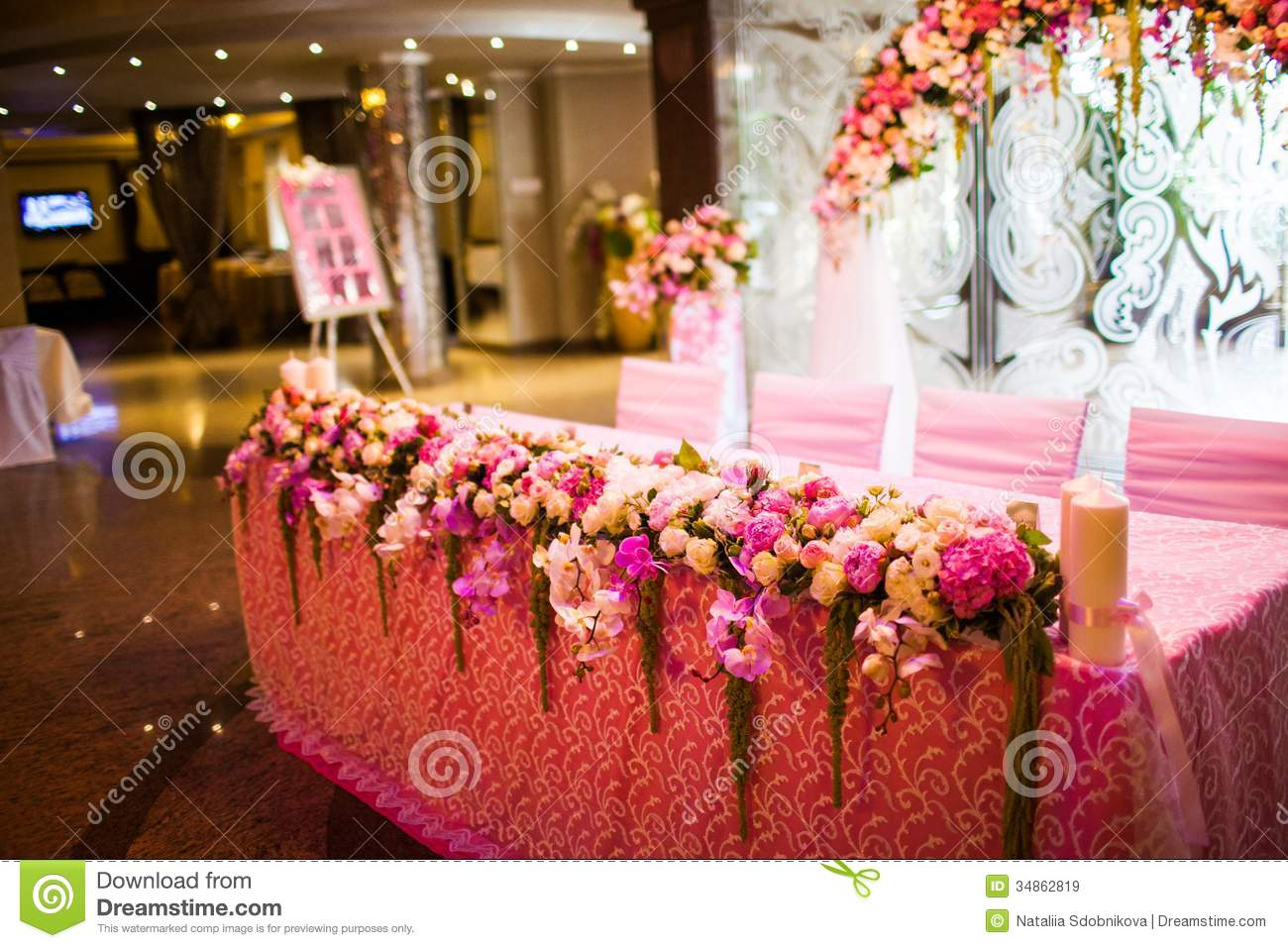 reception hall decorations. Wedding Hall Decoration With Flowers Games  Celebratory tables in the banquet hall royalty free stock decorations