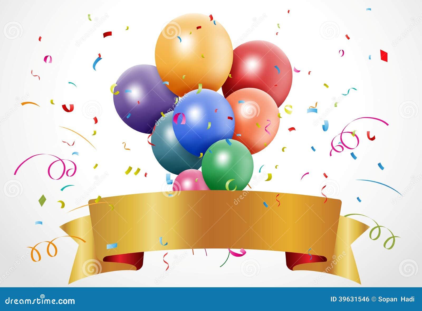 Celebrazione variopinta di compleanno con il pallone ed il nastro