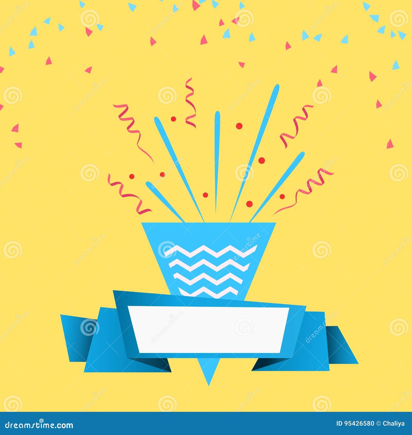 Celebre el diseño festivo de la celebración de días festivos con el fondo de papel del tostador de palomitas de maíz del confeti,