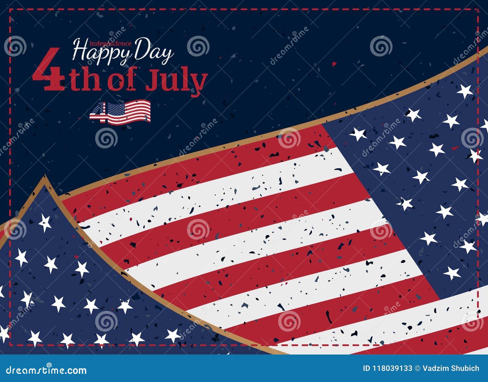 Celebre feliz el 4 de julio - Día de la Independencia Tarjeta de felicitación retra del vintage con la bandera de los E.E.U.U. y