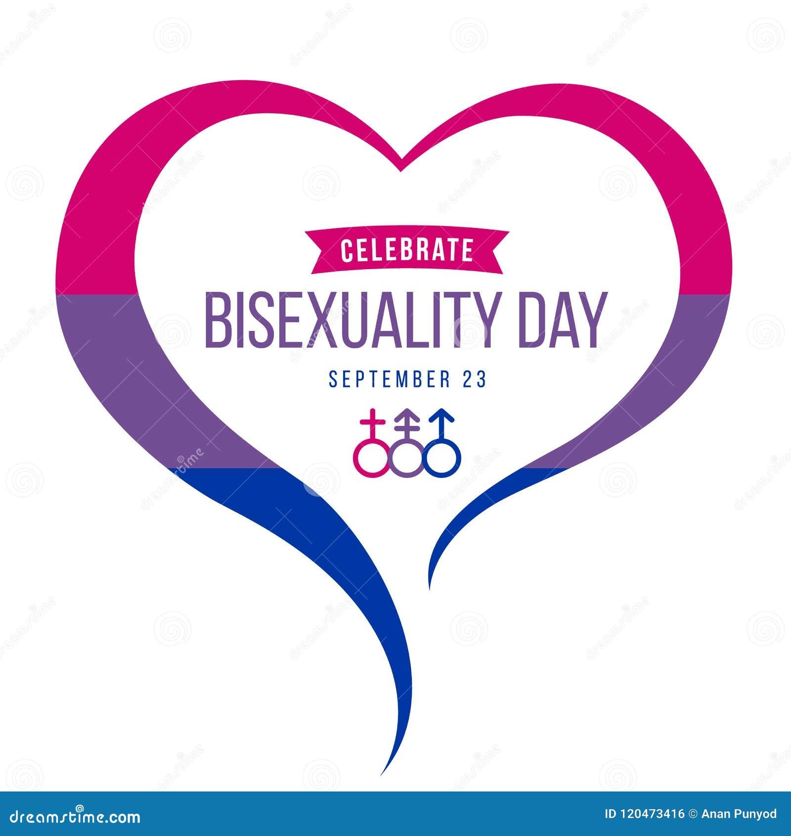Celebre la bandera del día del Bisexuality con el marco del corazón y el diseño azules, púrpuras y rosados del vector de la muest