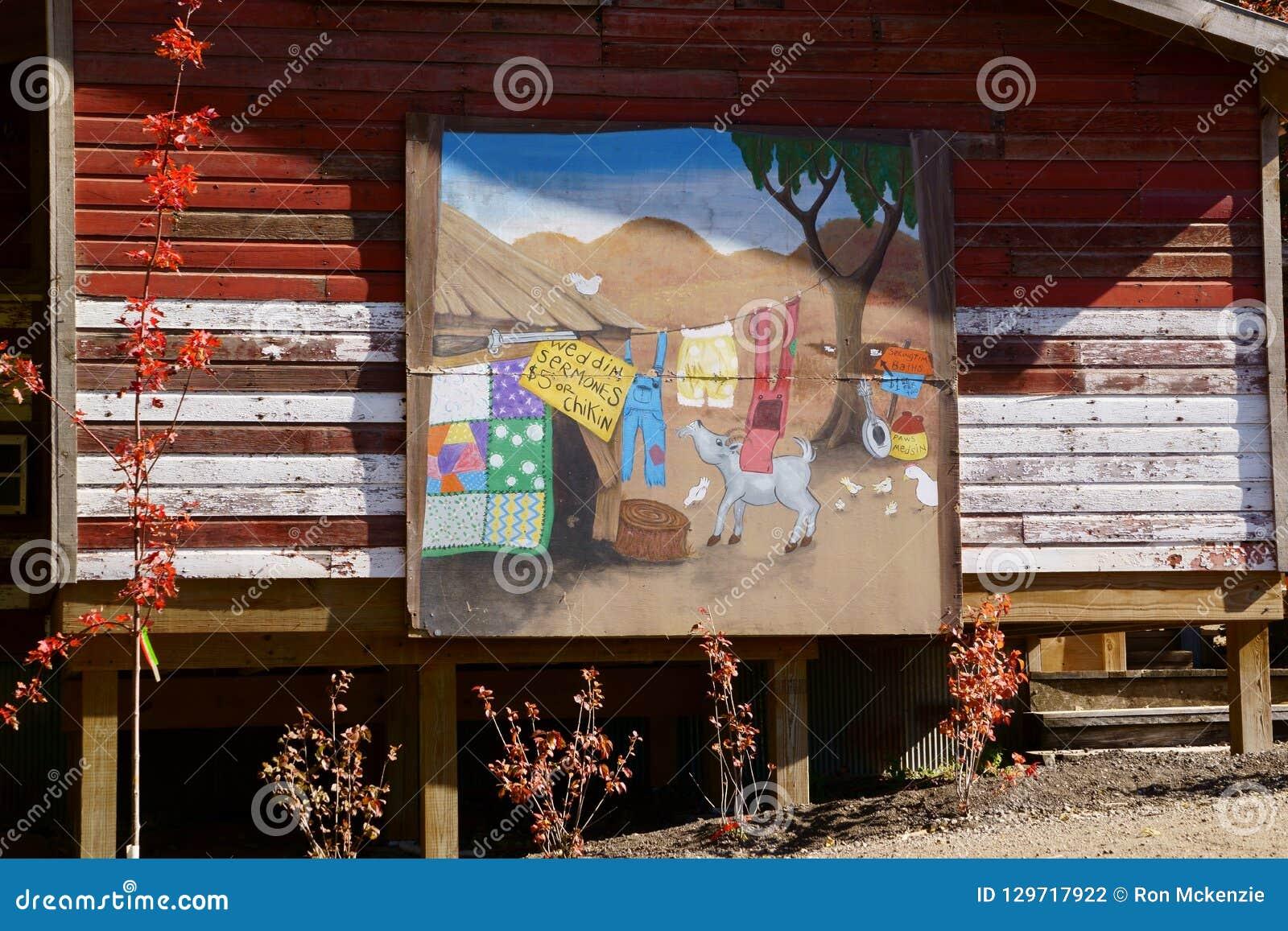 Celeiro da exploração agrícola com pintura mural pintada