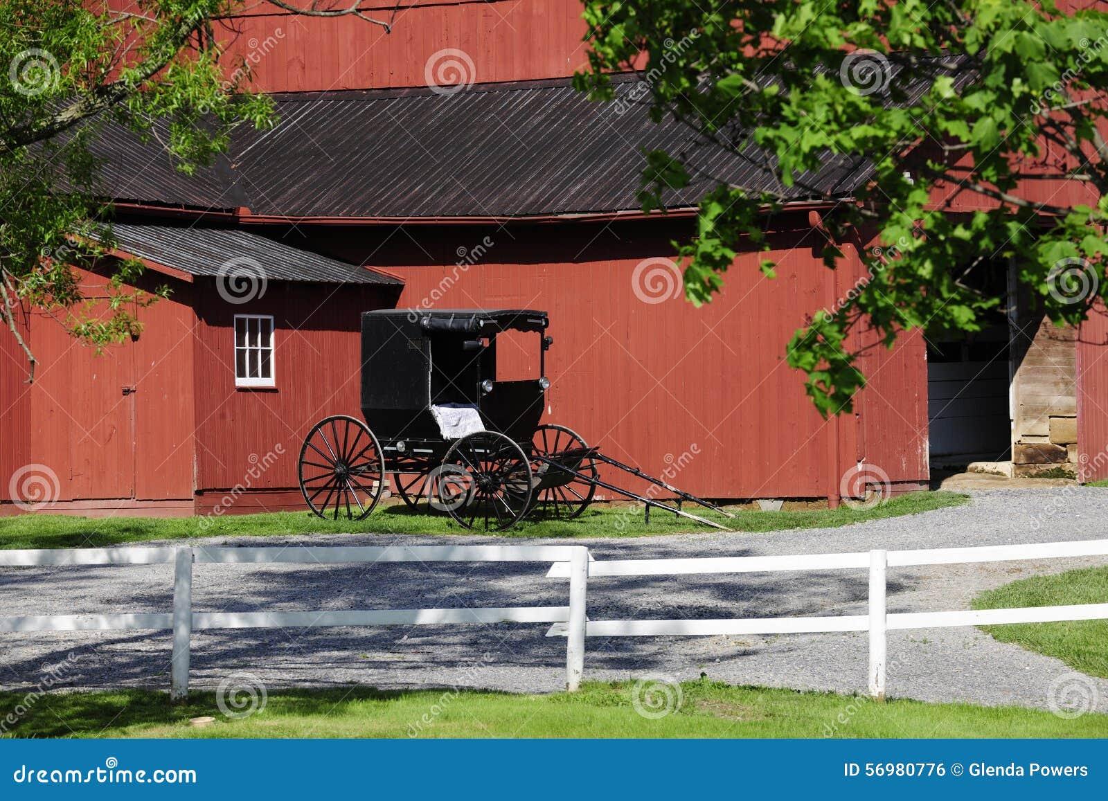 Celeiro e carrinho de Amish