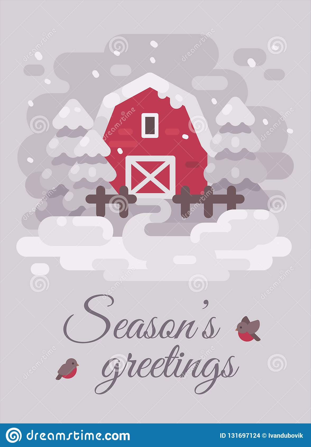 Celeiro vermelho com árvores em uma paisagem do país do inverno Ilustração lisa do cartão do Natal Cumprimentos das estações
