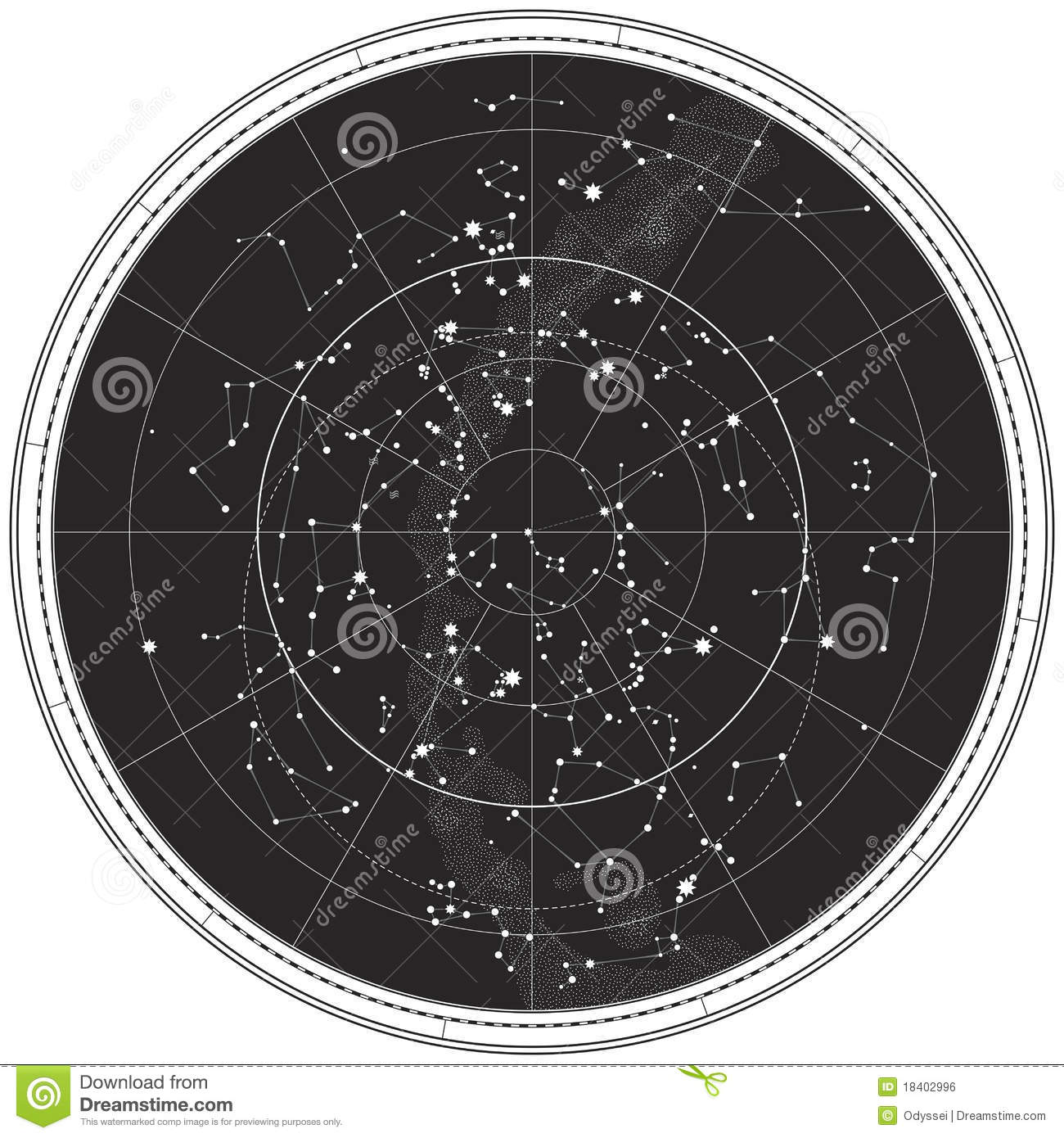 Celestial Map Of The Night Sky Stock Vector Illustration Of Orion - Night sky map northern hemisphere