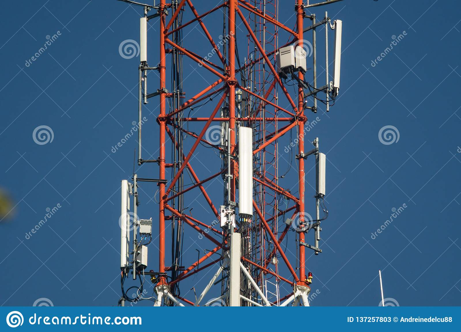 Cell phone antenna tower stock image  Image of receiver
