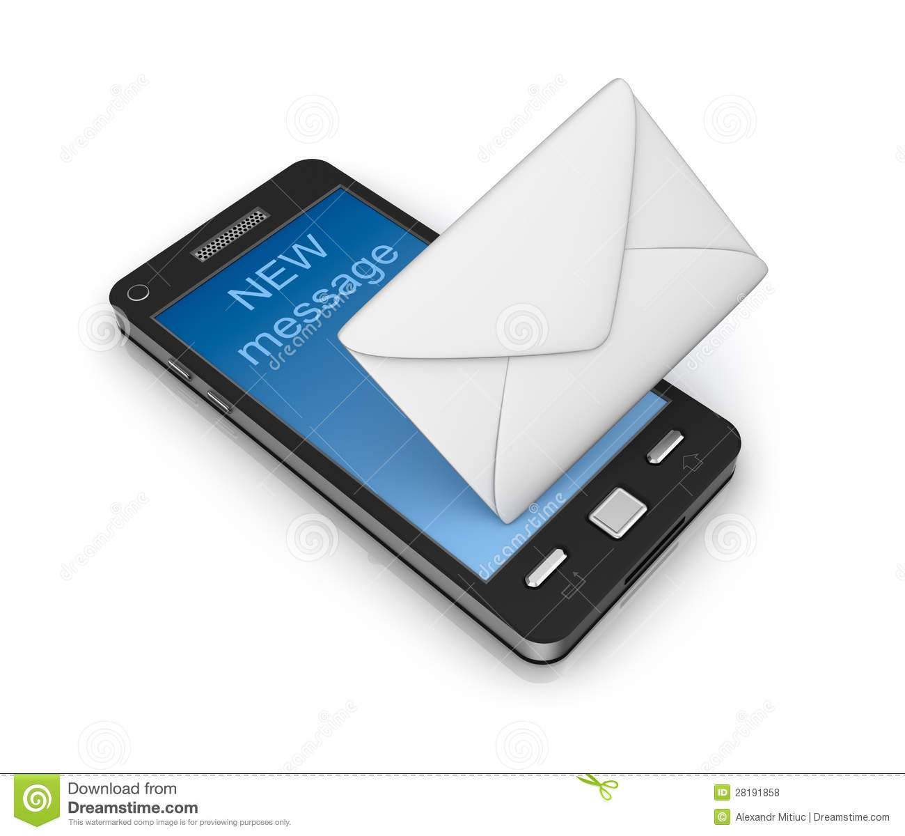 Cell Phone Email Icon Concept. On White. Stock ...