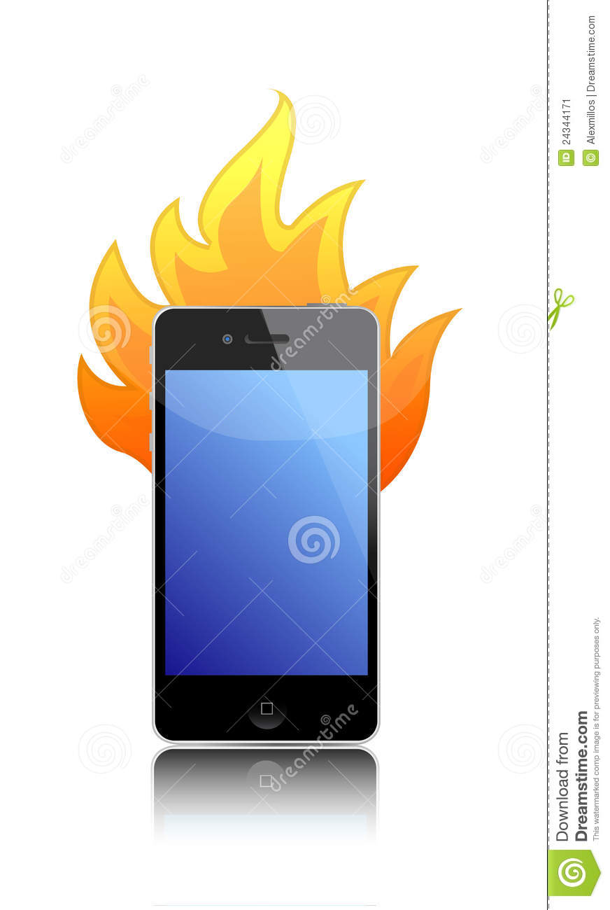 cell phone on fire over a white background stock vector