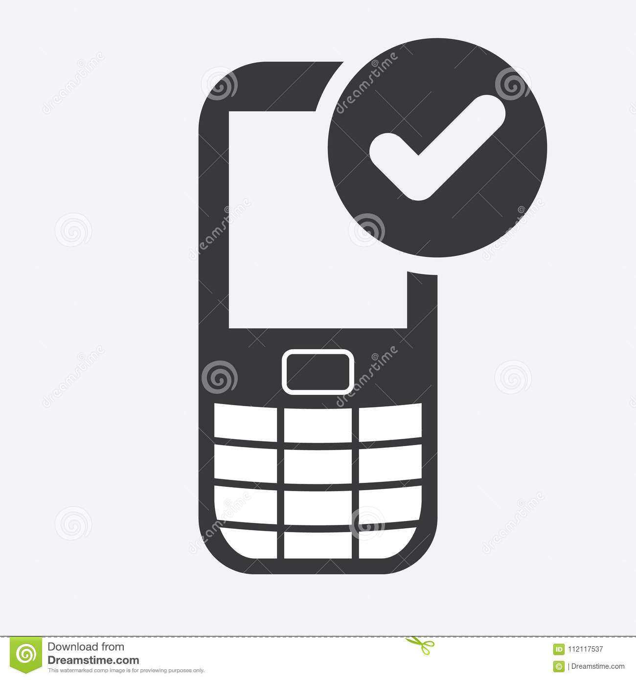 Cell Phone Icon With Check Sign. Cell Phone Icon And Approved ...