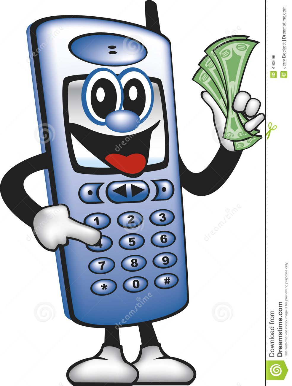 ... cell phone cartoon man pressing a key and saving money mr no pr no 4