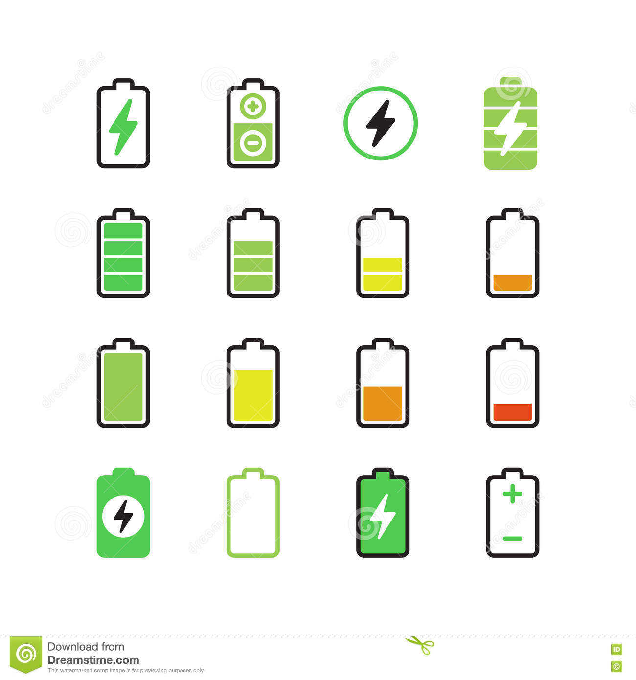 Battery Energy Indicator Icons Vector Illustration