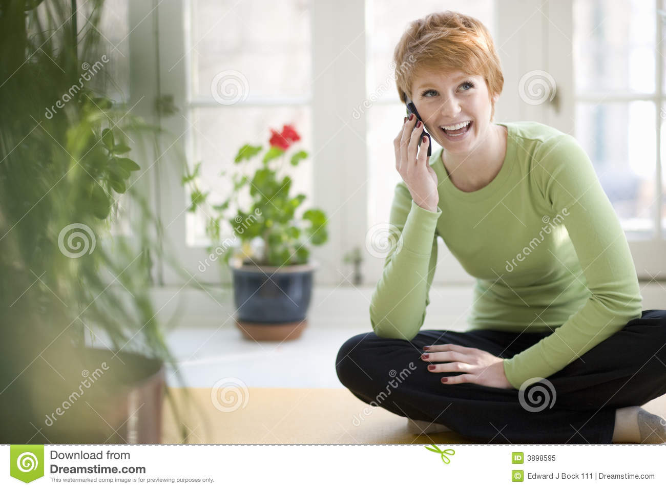 Cell phone smiling woman