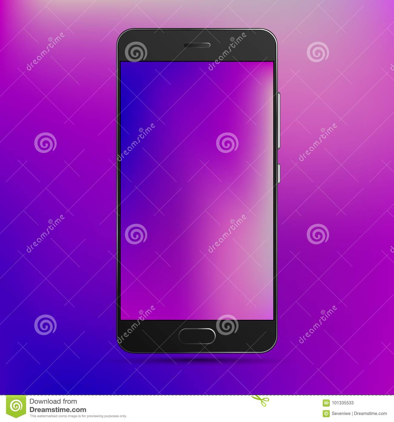 Cell Phone Template With Colorful Wallpaper And Background Stock