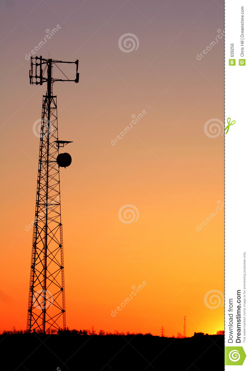 cell phone tower silhouette royalty free stock image