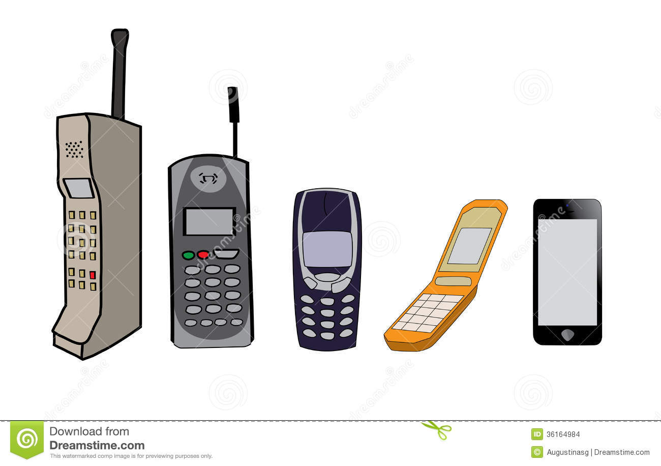 Cell Phones Evolution Stock Images