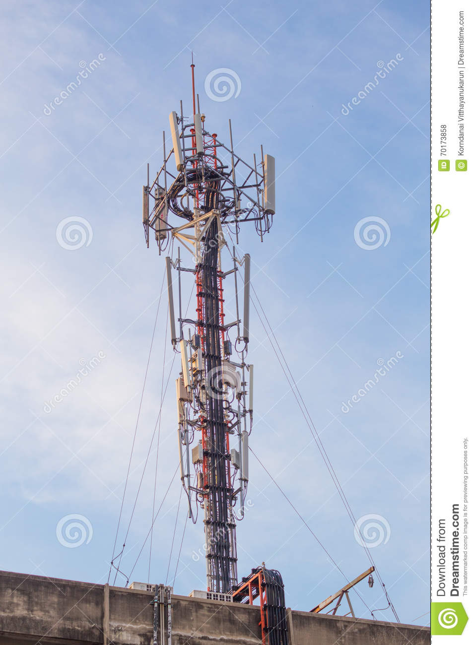Cell Site, Telecommunications Radio Tower  Stock Photo